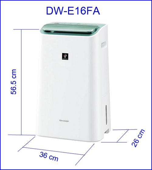 Kích thước thật của máy lọc không khí Sharp DW-E16FA-W